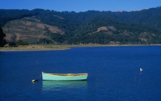 Bolinas lagoon with blue rowboat