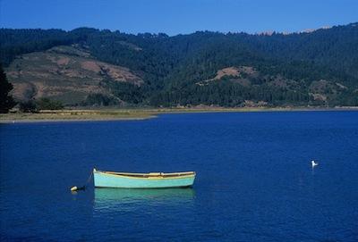 Bolinas lagoon with blue rowboat