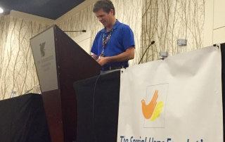 Tim Shriver, Organ Transplant, at lectern