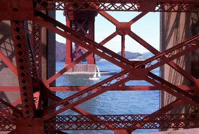 Sailboat under Golden Gate Bridge