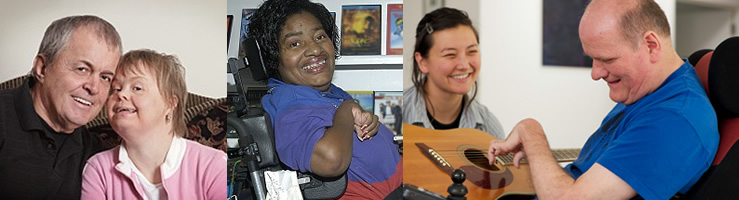 Photo collage of adults with developmental disabilities and their family members