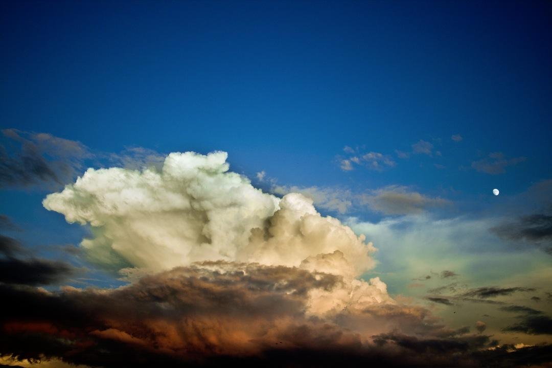 Dramatic clouds in blue sky