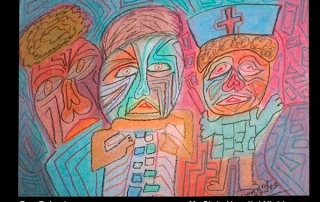 """Chalk on paper drawing """"My State Hospital Nightmare"""" by Don Roberts"""