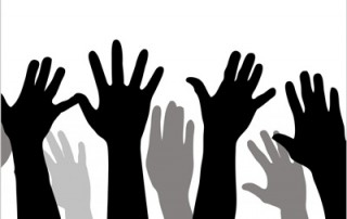 Illustration of many raised hands